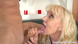 Cock munching granny gobbles younger dick
