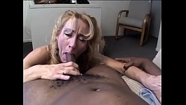 Mature blonde whore Sage is not against to help black man to  blow off some steam