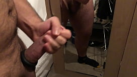 Tugging at a big dick