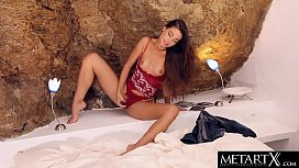Stunning nude beauty Lorena B goes face down ass up to masturbate