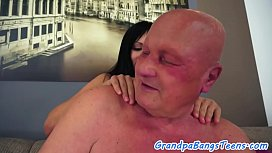 Hairy teen fucked and jizzed on by oldman