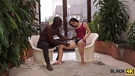 BLACK4K. Awesome interracial sex in the gym where white lassie works