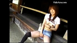 Asian Girl Showing Off Her Pussy And Tits Masturbating Giving Blowjob Outside The Bungalow