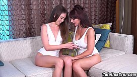 Catalina Cruz gets down with Riley Reid in a juicy threeway at a party