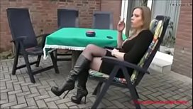 Best Mom Flashing in Boots Stockings. See pt2 at goddessheelsonline.co.uk