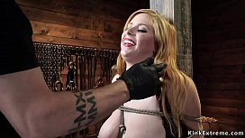 Tight tied busty blonde gets whipped