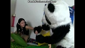 passionate sex with a toy panda
