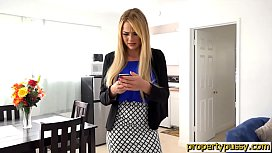 Teen property manager with big tits bangs her client