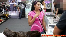 Pawnshop teen teases with tits before sex