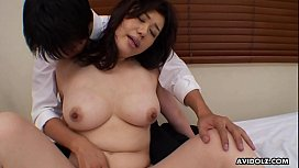 Slutty cougar, Risako got fucked in a doggy- style position