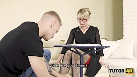 TUTOR4K. Man comes to teacher and ties legs cause its not an ordinary lesson