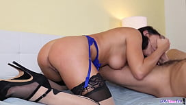 Lingerie Babe Blows Cock And Balls