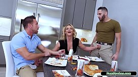 Busty milf fucked by stepson and husband