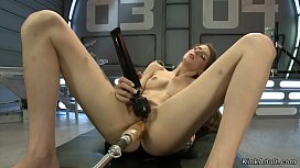 Hairy pussy squirter rides machines