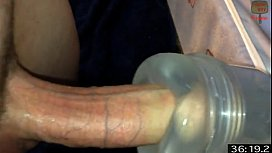 Amatuer guy all horned up has a fleshlight fuck marathon