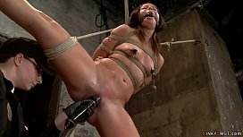 Tight tied lesbian is caned