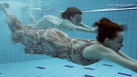 Two hot hairy beauties underwater