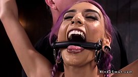 Purple haired slave squirts...