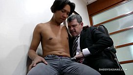 Daddy Bareback Fucks Asian...