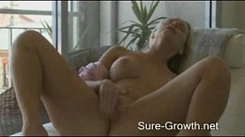 Hot blonde creates an erotic atmosphere to give herself an orgasm