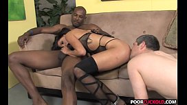 Chastity Cuckold watching his Hotwife Missy Maze Fucking A BBC