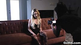 Blonde seductress Aiden Ashley shows up in her sexy fishnet stocking and spreads her wet pussy ready for a wild and rough sex with Kyle Mason.