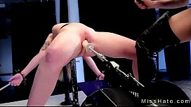 Blonde in device bondage spanked and fucks machine (Join Now! EasyFuck.org)