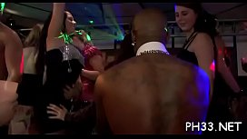 Yong girls drilled hard after dance from behind by darksome waiter