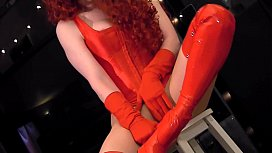 Redhead wearing red boots...
