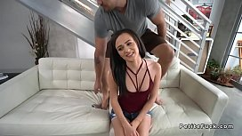 Petite babe gets huge cock in tight pussy