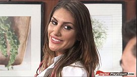 August Ames plays with...