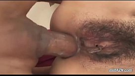Milf Getting Her Hairy Pussy And Asshole Fucked By 2 Guys Dp On The Bed