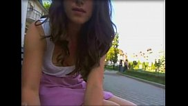 Latina flashing at park...