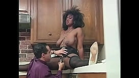 Babe with afro hair Lady Antoinette bends over in the kitchen to take it from the back