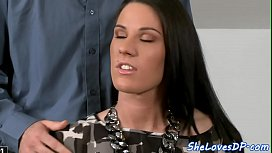 European babe doublepenetrated after blowjob