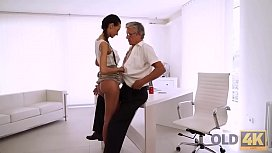 OLD4K. Long-legged brunette gives herself to old handsome boss