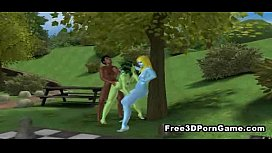 Two 3D babes fucked by an ebony stud in the park
