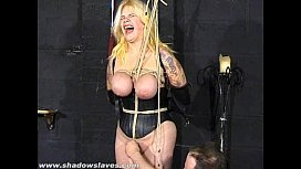 Busty blonde Cherrys breast bondage and amateur bdsm of tit tortured submissive xxx video