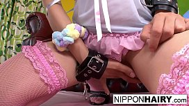 Pretty in pink Asian girl gets an anal &amp_ pussy creampie