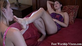 Sadie makes Bella worship her tired feet