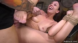 Brunette gets hairy pussy rough banged