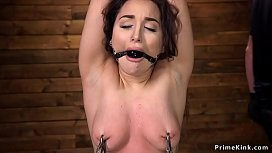 Nipples clamped and pussy vibed sub