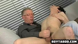 Young hunk sucking on an old mans rock hard cock