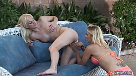 Two super hot blonde lesbians eating it in a 70