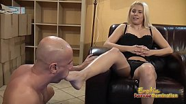 Blondes tells submissive to...