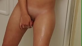 Christina model toying in shower