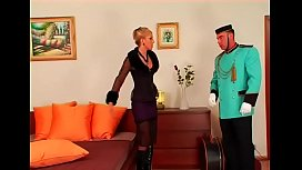 Horny whore dominates her lover and makes him worship cunt