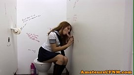 Schoolgirl cutie sucking during...