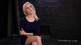 Blonde sub bound in most creative positions toyed