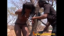 Horny african beauty getting...